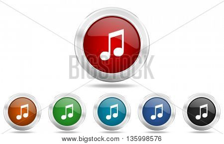 music round glossy icon set, colored circle metallic design internet buttons