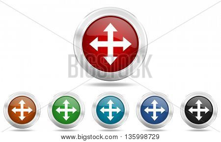 arrow round glossy icon set, colored circle metallic design internet buttons