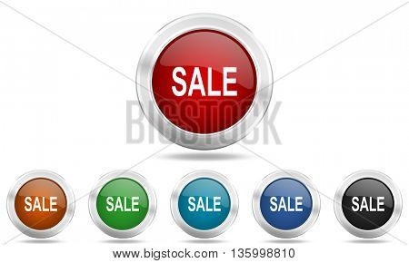sale round glossy icon set, colored circle metallic design internet buttons