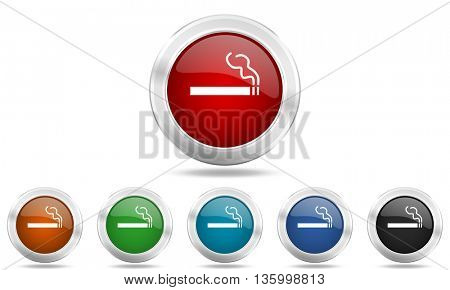 cigarette round glossy icon set, colored circle metallic design internet buttons