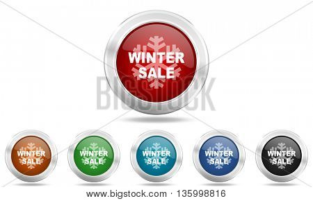 winter sale round glossy icon set, colored circle metallic design internet buttons