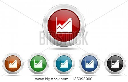 histogram round glossy icon set, colored circle metallic design internet buttons