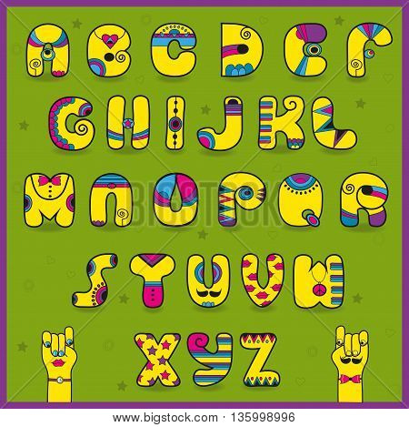 Dandy Alphabet. Artistic font. Funny yellow pink letters. Cartoon hands looking at each other. Illustration.