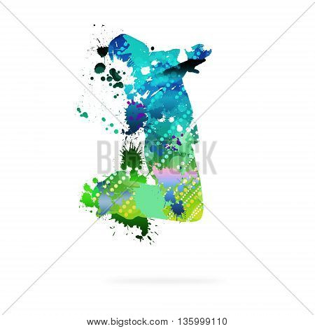 Image with color silhouette of dancer on white background