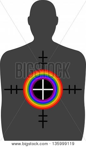 Homophobic Gun Crime - A Shooting Range Figure with a Rainbow Coloured Crosshairs. An illustration of a Shooting range target with crosshairs on top. in the crosshairs are decreasing circles in colours of the rainbow