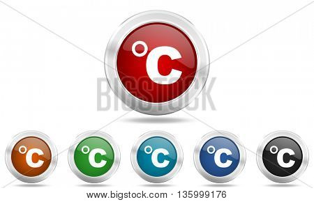 celsius round glossy icon set, colored circle metallic design internet buttons