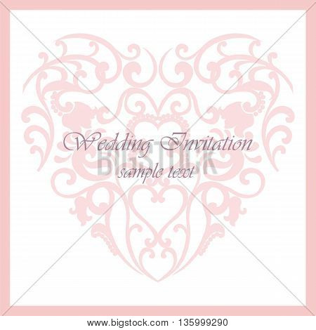 Vector invitation card ornamental lace with damask elements. Elegant lacy feather decoration greeting card wedding invitation or announcement template. Vector