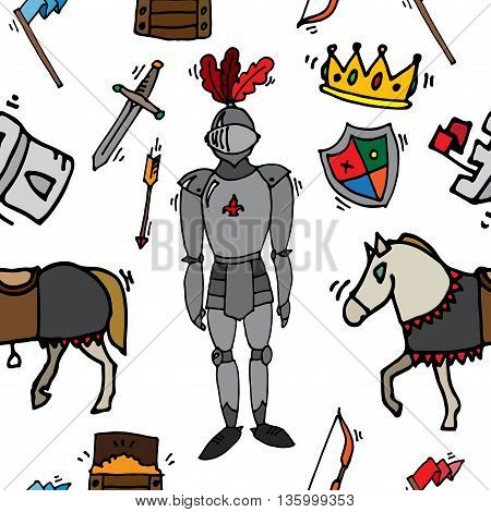 Medieval kingdom legendary armored knight warrior with lance and attributes icons pattern abstract isolated vector illustration