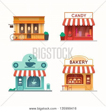 Set of shops and stores building facades. Candy store, coffee shop, bakery, bookstore. Flat design vector illustration.