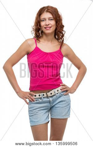 beauty redhead woman on white background