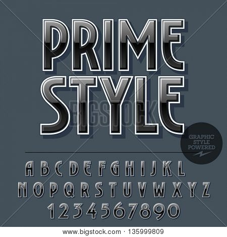 Glossy set of alphabet letters, numbers and punctuation symbols. Reflective vector emblem with text Prime style