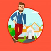 Hipster real estate agent standing near the house. Real estate agent leaning on the house. Real esta poster