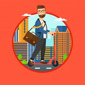 Постер, плакат: A hipster man riding a kick scooter Businessman with briefcase riding to work on scooter Man on ki