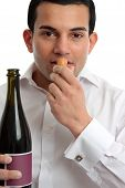 Man Or Wine Steward Sniffing Wine Cork