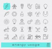 Постер, плакат: Set of line energy icons Various energy sources Various kinds of energies for use in industry and e