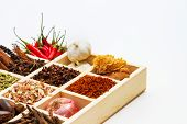 Постер, плакат: Spices And Herbs On White Background For Decorate Spices Content indian Spices In Terracotta Pots I