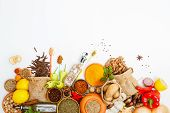 Постер, плакат: Spices For Herb And Cooking On White Background top View Spices On White Background indian Spices Fo