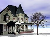 picture of victorian houses  - A rendering of a Victorian house in the winter - JPG