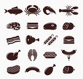 Постер, плакат: Vector Meat Icons Set