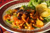 image of gai  - traditional thai food chicken with cashew nuts gai pad met mamuang