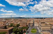 Постер, плакат: Aerial panoramic view of central Rome from the Vittoriano Monument with Piazza Venezia and Palazzo V