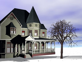 stock photo of victorian houses  - A rendering of a Victorian house in the winter - JPG