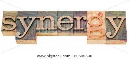 Synergy Word In Letterpress Type
