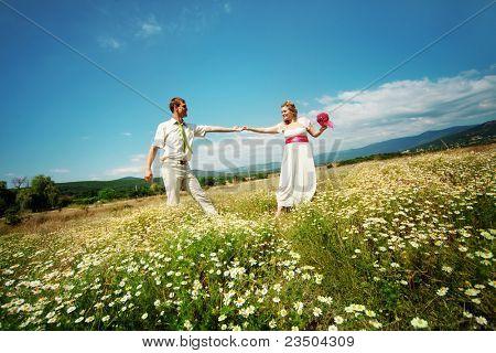 Hochzeitspaar zu Fuß im freien Feld