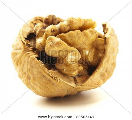 un-shelled nut isolated on white background