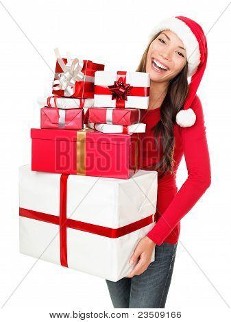 Asian Christmas Santa Woman Shopping Gifts