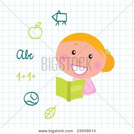 Cute Reading Blond Girl Reading Book, School Icons & Elements.
