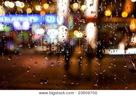 autumn Night City Rain Background
