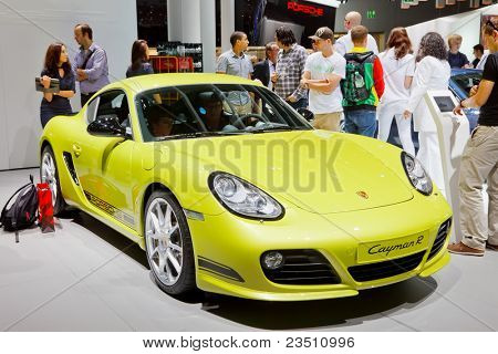 FRANKFURT - SEP 17: Porche Cayman R sport car shown at the 64th Internationale Automobil Ausstellung (IAA) on September 17, 2011 in Frankfurt, Germany.