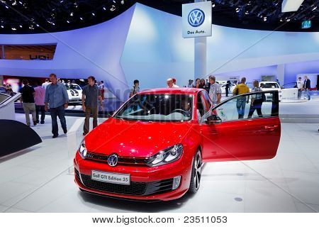 FRANKFURT - SEP 17: Volkswagen Golf GTI Edition 35 car shown at the 64th Internationale Automobil Ausstellung (IAA) on September 17, 2011 in Frankfurt, Germany.