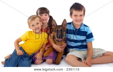 Three Children And Dog