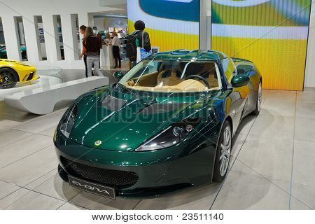 FRANKFURT - SEP 17: Lotus Evora Sport car shown at the 64th Internationale Automobil Ausstellung (IAA) on September 17, 2011 in Frankfurt, Germany.