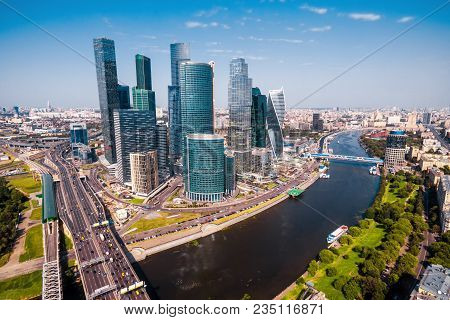 Aerial Panoramic View Of Moscow