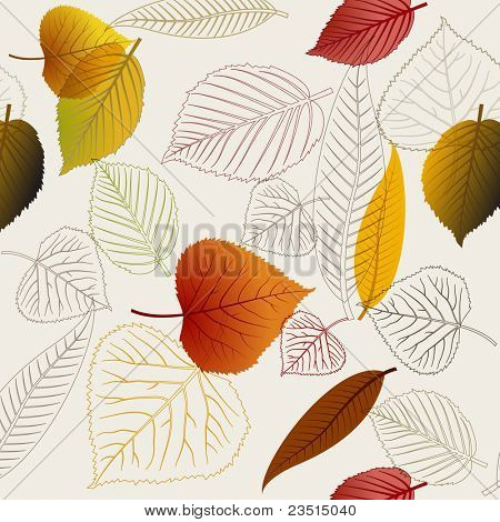 Autumn vector leafs texture - fall seamless pattern