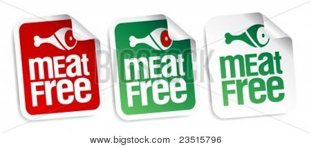 Meat free stickers set.