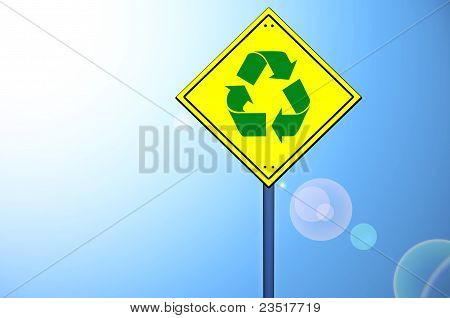 Recycle Shape On Road Sign