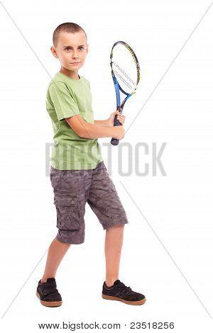 Boy Playing Tennis