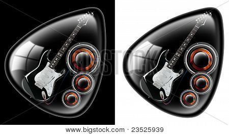 Black guitar plectrum