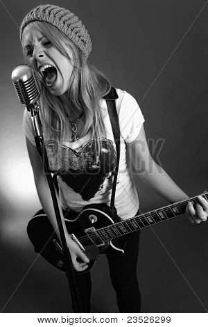 Guitarist Screaming Into Old Microphone