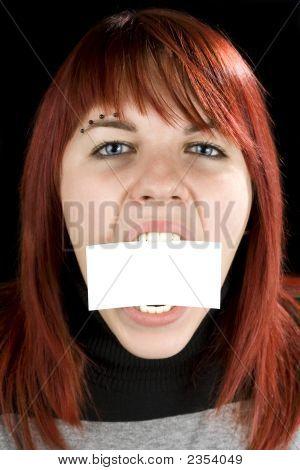 Girl Biting A Blank Greeting Card
