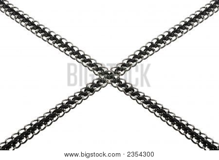 Chain With The Inserted Leather Thong