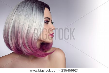 poster of Ombre Bob Short Hairstyle. Beautiful Hair Coloring Woman. Trendy Haircuts. Blond Model With Short Sh