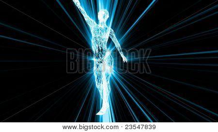 Körper der Frau mit Lichteffekten und Draht-Textur.