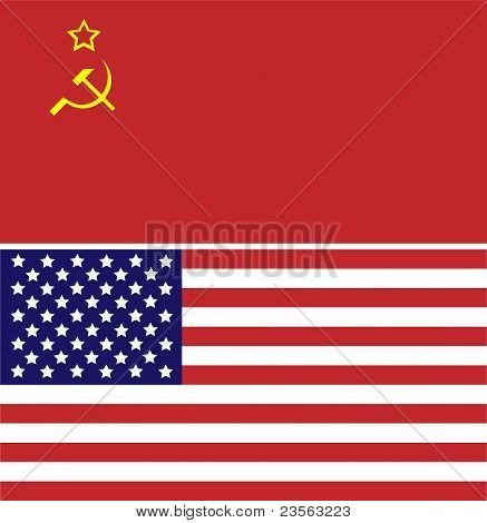 Soviet Union and USA flag