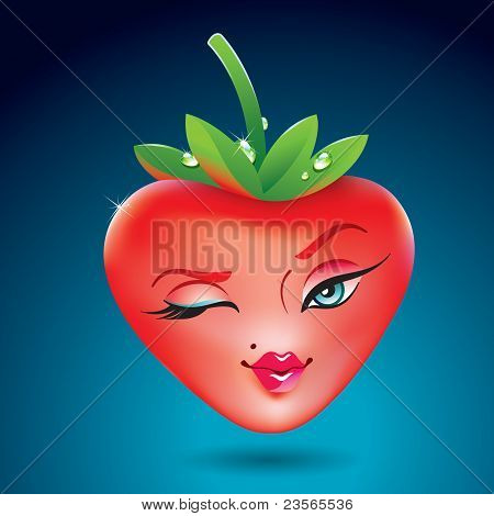 Cute Strawberry Girl In The Form Of Heart. Icon For Themes Like Love, Valentine's Day, Holidays.