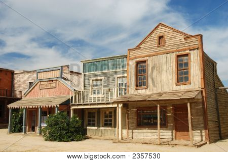 Wooden Buildings In An Old American Town